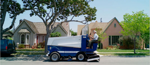A new Zamboni going out for a test drive in Los Angeles.