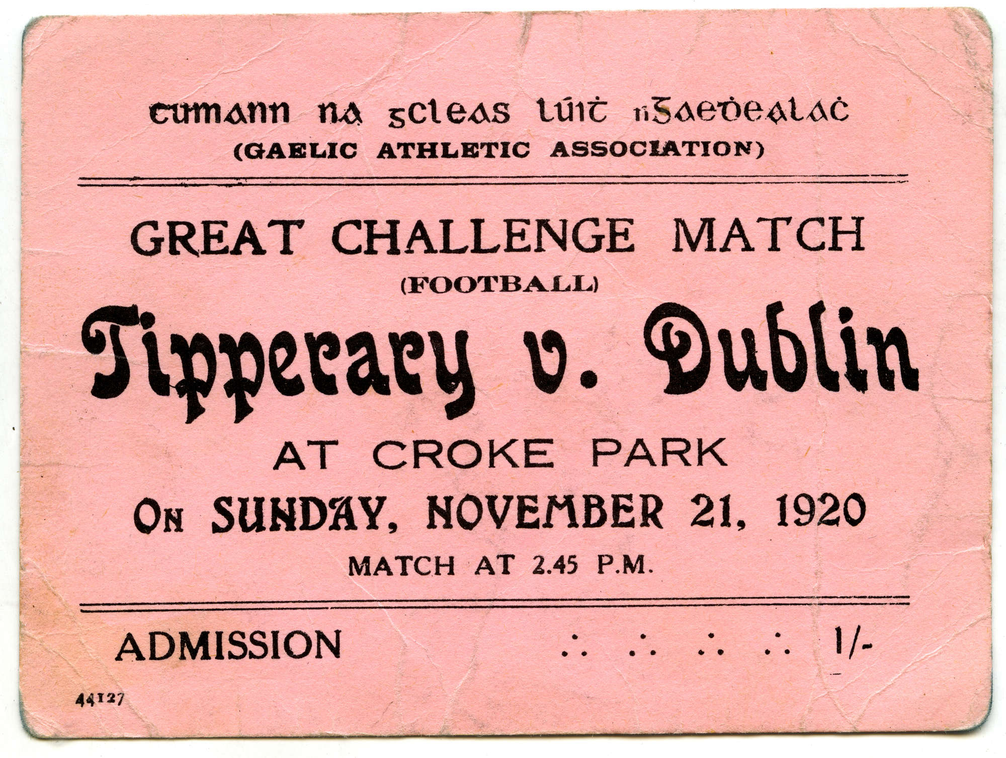 Bloody Sunday Ticket - Tipperary v Dublin