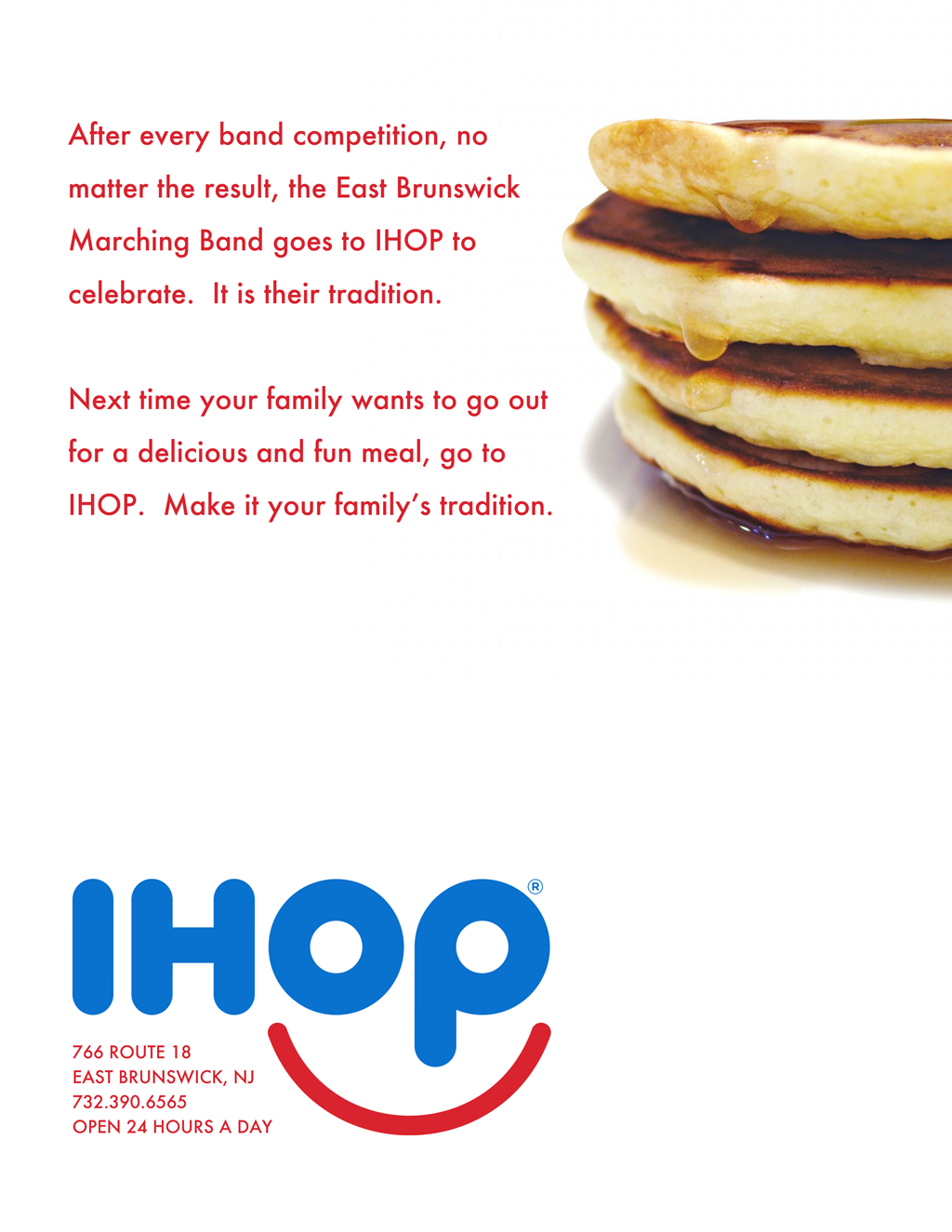 IHOP East Brunswick Band Ad - Appeared in the E.B. Marching Band Program Front Cover position.
